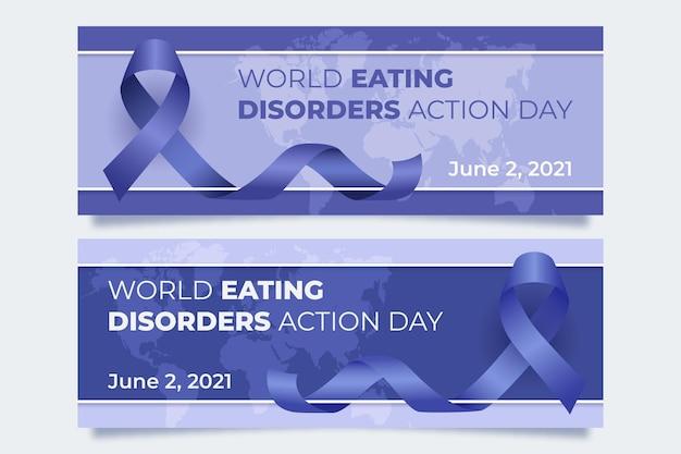 Realistische wereld eetstoornissen actiedag banners instellen