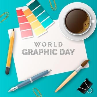 Realistische wereld grafische dag illustratie
