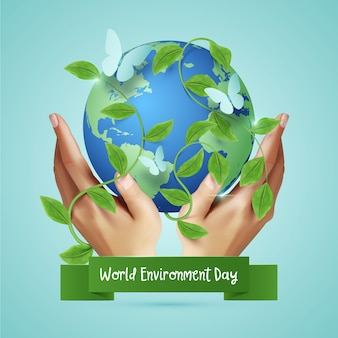 Realistische wereld milieu dag concept