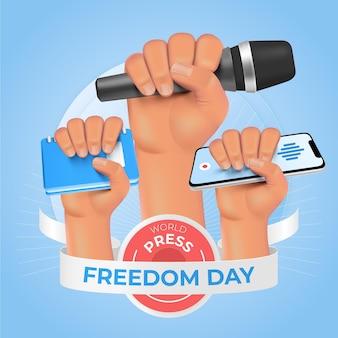 Realistische wereld persvrijheid dag illustratie