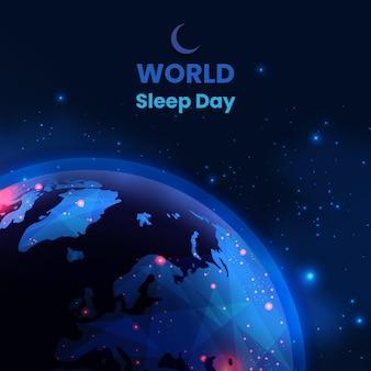 Realistische wereld slaapdag illustratie met planeet aarde en sterren