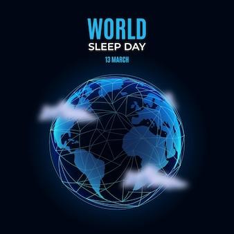 Realistische wereld slaapdag illustratie met planeet