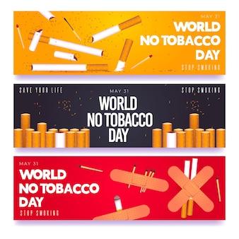 Realistische wereld zonder tabaksdag banners instellen