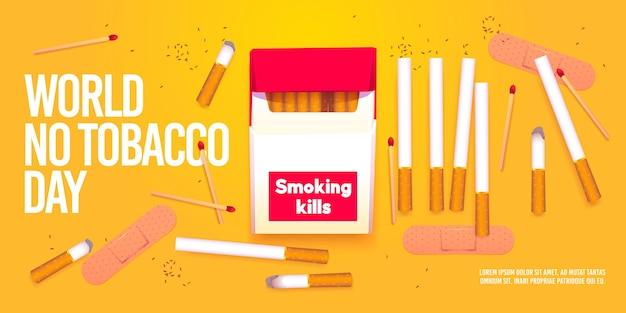 Realistische wereld zonder tabaksdag illustratie