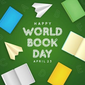 Realistische wereldboekdag illustratie met boeken en papieren vliegtuigen