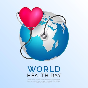 Realistische wereldgezondheidsdag illustratie met planeet en hart