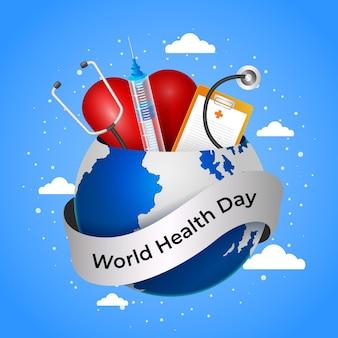 Realistische wereldgezondheidsdag illustratie met planeet en stethoscoop