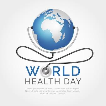 Realistische wereldgezondheidsdag met planeet aarde
