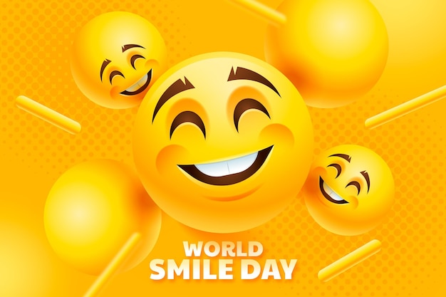 Realistische wereldglimlachdagachtergrond met lachende emoji's