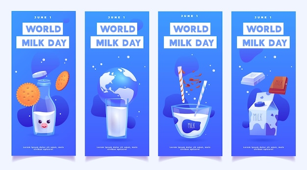 Realistische wereldmelkdag banners instellen