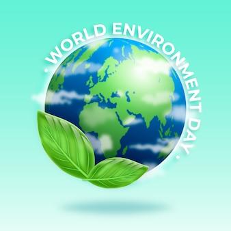 Realistische wereldmilieudag met planeet en bladeren