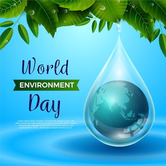 Realistische wereldmilieudag met planeet in regendruppel