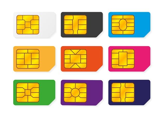 Realistische wereldwijde telefoonsimkaart met grote verzameling met verschillende emv-chips en verschillende kleuren. nfc-chip voor creditcardbeveiliging geïsoleerd op een witte achtergrond. vector. illustratie.