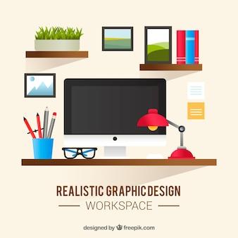 Realistische werkruimte voor grafisch ontwerpen