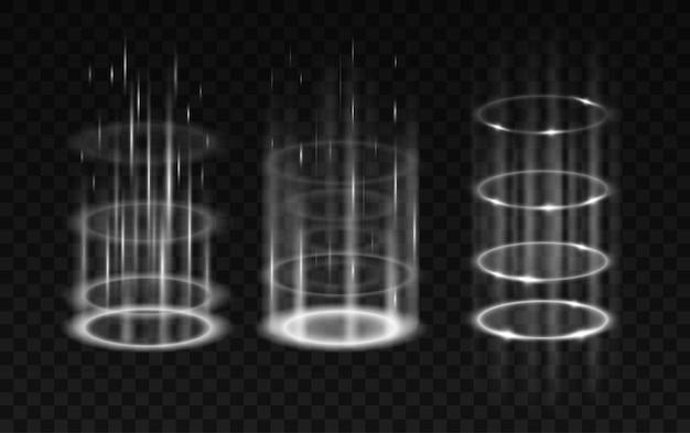 Realistische wervelende portalen set. gloeiende neon energie cirkels geïsoleerd op zwarte transparante achtergrond. teleporteer met lichtstralen. realistische vectorillustratie