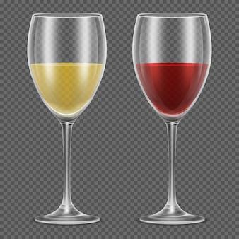 Realistische wijnglazen met rode en witte wijn