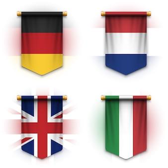 Realistische wimpelvlag van duitsland, nederland, het verenigd koninkrijk en italië