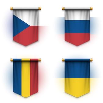 Realistische wimpelvlag van tsjechië, rusland, roemenië en oekraïne