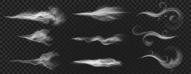 Realistische windblaaswervelingen, rooklucht of hete stoom. gebogen stroomgolven, mist, aroma of parfumwolkeneffect. witte waaiende stroom vector set