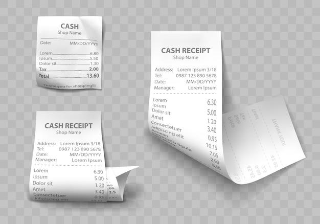 Realistische winkel contante ontvangst, papieren betalingsrekeningen