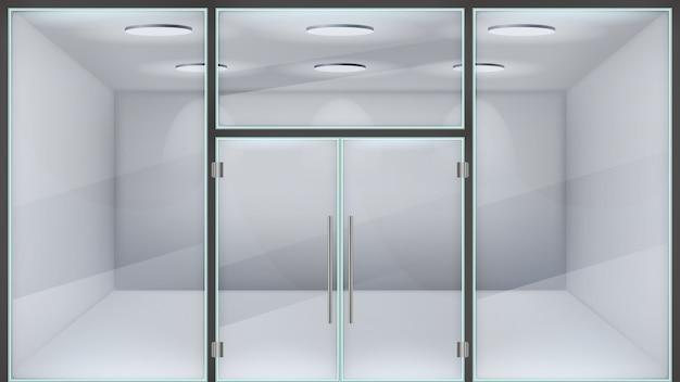 Realistische winkeldeur. glazen dubbele kantooringang, buitendeuren aan de voorkant van het winkelcentrum, moderne metalen frame realistische stalen deur illustratie. realistische glazen gevel, winkelboetiek