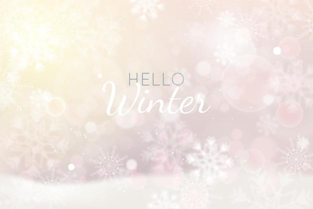 Realistische winter bokeh achtergrond
