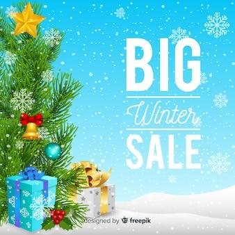 Realistische winter verkoop achtergrond