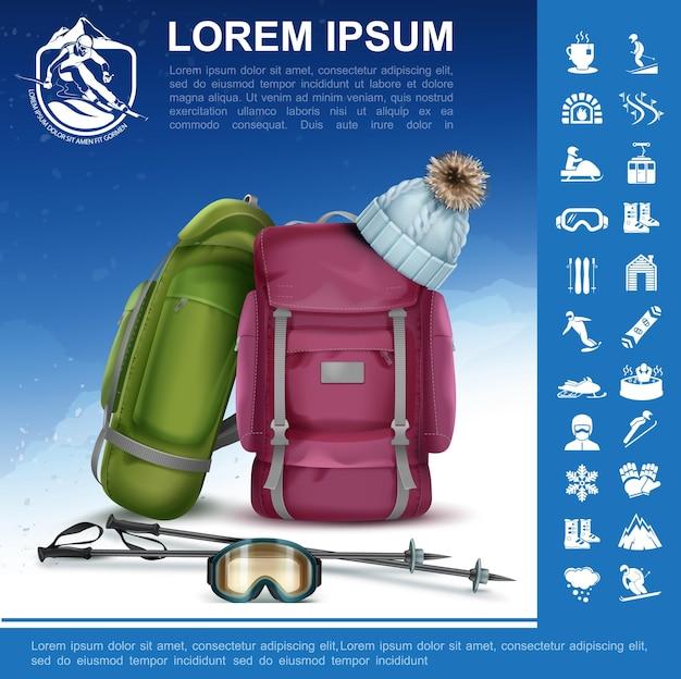 Realistische winteractiviteitssamenstelling met rugzakken skistokken hoed snowboarden bril wintersport