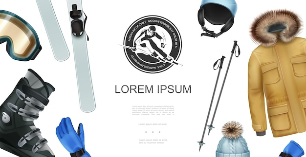Realistische wintersport concept met jas handschoen hoed ski stokken snowboarden laars bril helm skiër label illustratie