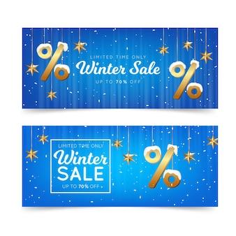 Realistische winterverkoop banners