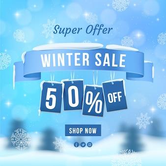 Realistische winterverkoop superaanbieding