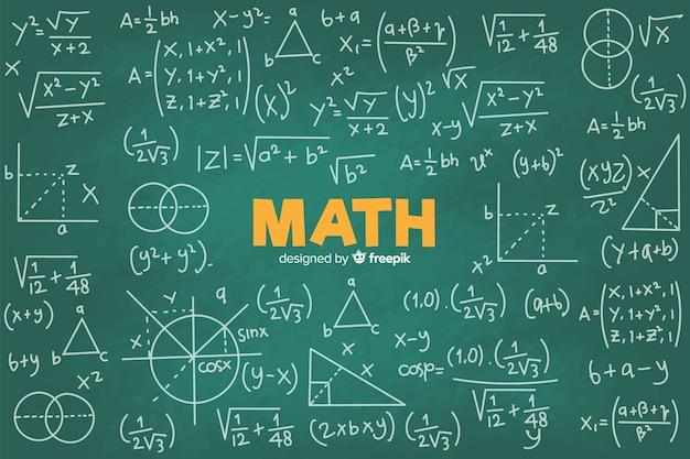Realistische wiskunde schoolbord achtergrond Premium Vector