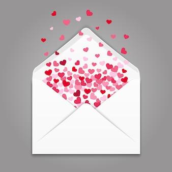Realistische witboekvelop met kleurrijke hartenconfettien