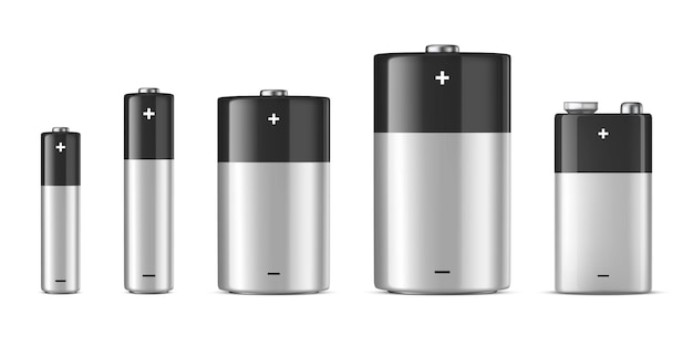 Realistische witte alkalinebatterijset verschillende grootte aaa aa cd pp3 ontwerpsjabloonmodel