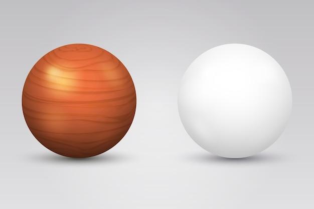 Realistische witte bal en houten bol. ronde vorm, geometrie globe figuur
