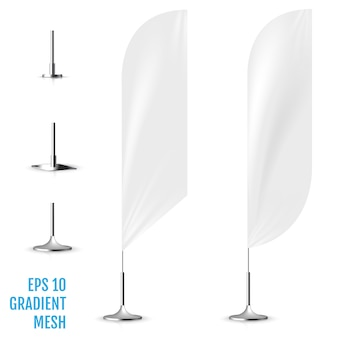 Realistische witte banner vlaggen 3d mockup.
