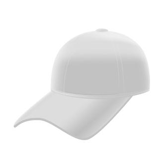 Realistische witte baseballcap sjabloon