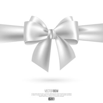 Realistische witte boog en lint. element voor decoratie geschenken, groeten, feestdagen. vector illustratie.