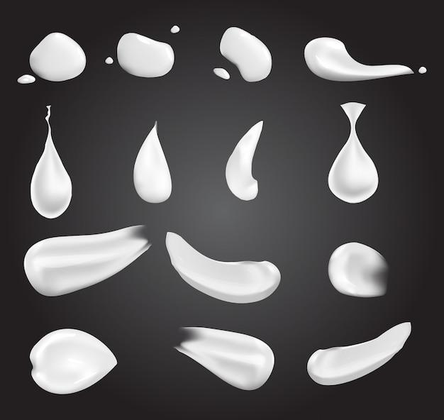 Realistische witte creme-elementen: een druppel, een plons, uitstrijkje, geperste crème. illustratie op transparante achtergrond wordt geïsoleerd die.
