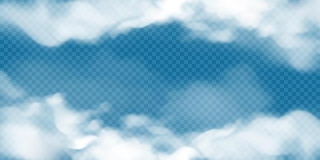 Realistische witte cumuluswolken op transparante achtergrond.