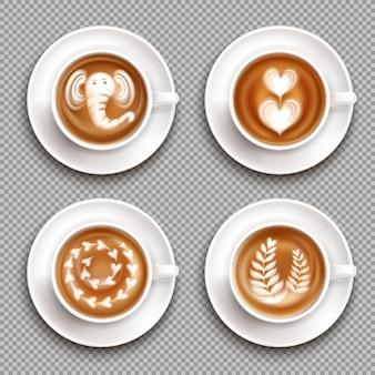 Realistische witte cups met latte art afbeeldingen bovenaanzicht op transparant geïsoleerd