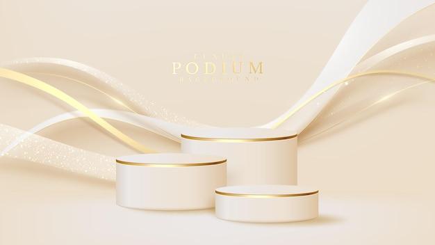 Realistische witte displaystandaard met gouden curve-lijnenscène, podium met product voor promotieverkoop en marketing. luxe stijl achtergrond. 3d-vectorillustratie.