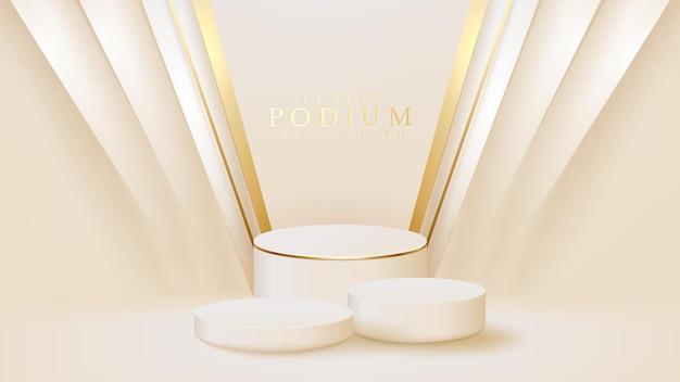 Realistische witte displaystandaard met gouden diagonale lijnenscène, podium met product voor promotieverkoop en marketing. luxe stijl achtergrond. 3d-vectorillustratie.