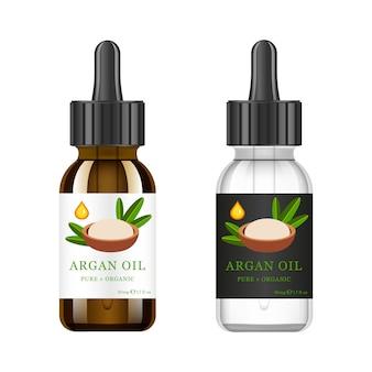 Realistische witte en bruine glazen fles met argan extract. schoonheid en cosmetica olie - argan. productlabel en logosjabloon. geïsoleerd