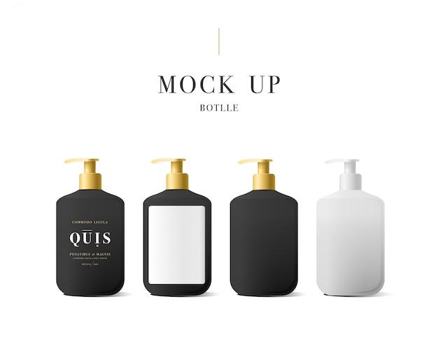 Realistische witte fles vloeibare zeep