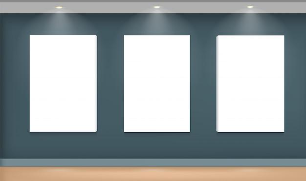Realistische witte fotolijst op de muur