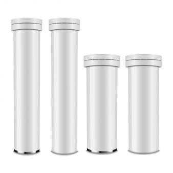 Realistische witte glanzende aluminium fles met dop voor bruistabletten of carbon tabletten, pillen, vitamines. set verpakking sjabloon