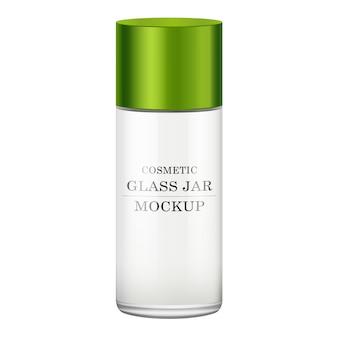 Realistische witte glazen pot met groen plastic deksel voor cosmetica