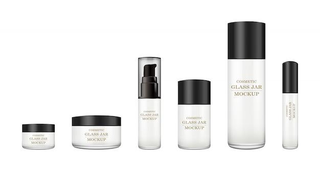 Realistische witte glazen pot met plastic deksel voor cosmetica -