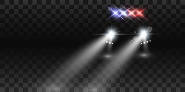 Realistische witte gloed om balken van autokoplampen, op transparante achtergrond. politieauto. licht van koplampen. politiepatrouille.